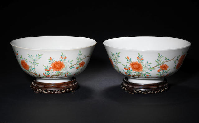 A pair of enamelled bowls Daoguang six-character marks