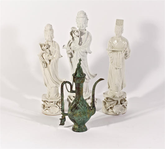 Three Chinese blanc de chine figures and a bronze coffee pot and cover