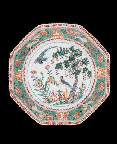 A famille verte pie-crust rim dish Kangxi