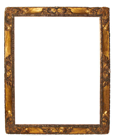 A Spanish late 17th Century carved and gilded frame