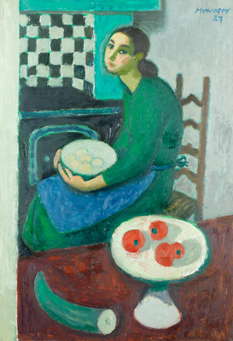 Alberto Morrocco, OBE RSA RSW RP RGI LLD D Univ (British, 1917-1998) Girl with a Bowl of Eggs 54.5 x 38.3 cm. (21 1/2 x 15 in.)