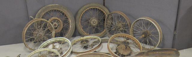 Assorted motorcycle wheels and rims,