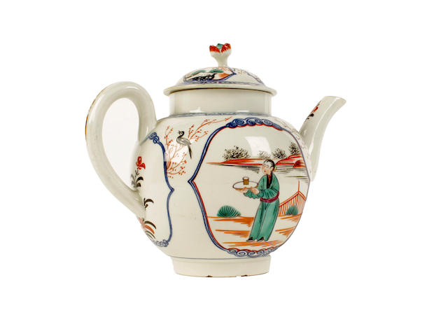 A Worcester teapot and cover, circa 1770