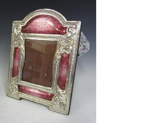 An Argentine modern silver and enamel Art Nouveau style reproduction photograph frame   stamed 925, Miani,