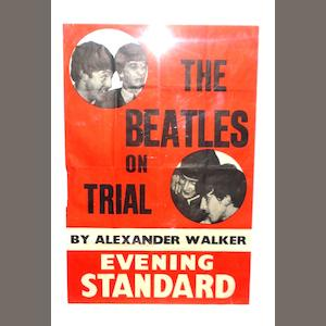 An Evening Standard newspaper poster: 'The Beatles On Trial',