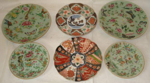 A pair of Canton celadon ground famille dishes, 25cm, another small pair, 18cm, and two different Japanese Imari dishes, circa 1900, each decorated with different patterns, 21cm. (6)