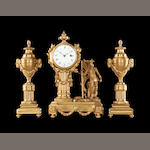 A late 18th century century gilt bronze figural timepiece garniture with an 18th century movement by Edward Tomlin, Royal Exchange, London (1768 - 1798)