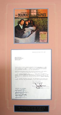 The Mama's and the Papa's:A contract signed by the group, dated April 28, 1966,
