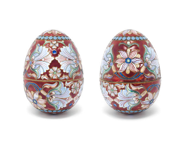 A pair of vari-coloured cloisonné enamel eggs with pseudo Russian marks  (2)