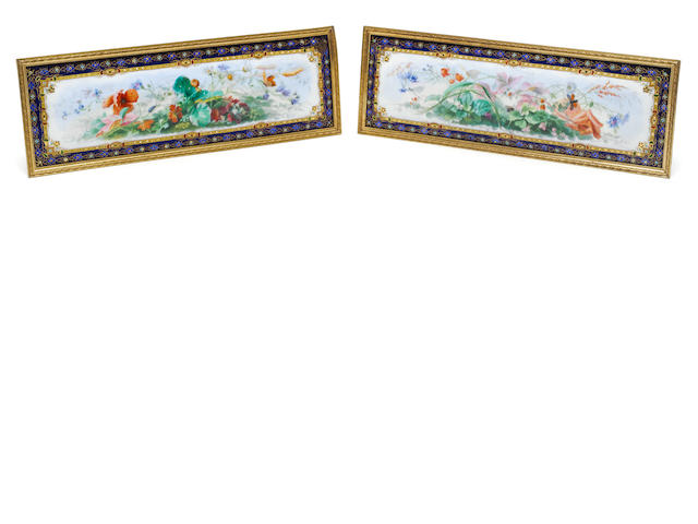 A pair of 19th century French enamelled pictoral panels