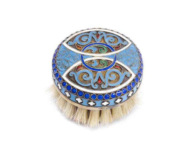 A cloisonné enamelled circular brush with pseudo Russian marks