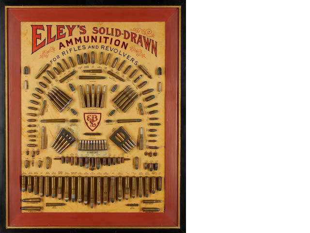 An unusual 'Eley's Solid Drawn Ammunition' cartridge-display board