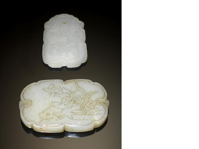 Two pale celadon jade plaques