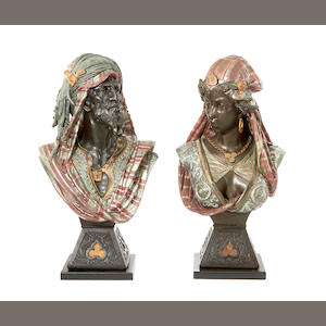 A pair of cold painted spelter busts of Arabs