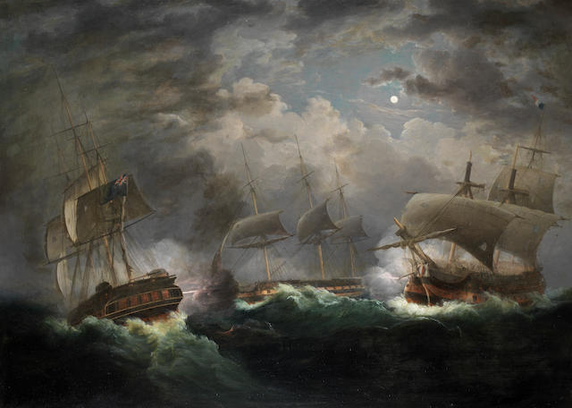 John Lynn (British, fl. 1828-1838) The Night Action – H.M.S. Indefatigable engaging Les Droits de l'Homme, with H.M.S. Amazon, off Ushant, 13th-14th January 1797