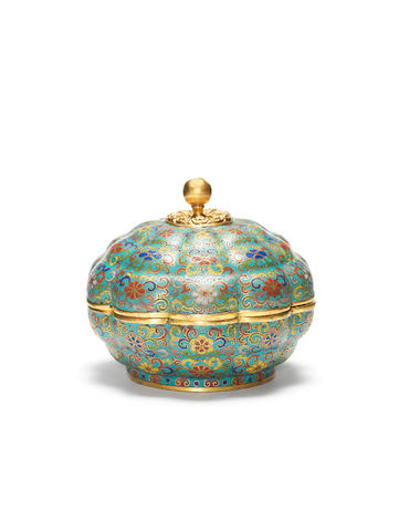 A rare Imperial cloisonné enamel ten-lobed circular box and cover Incised Qianlong four-character mark and of the period