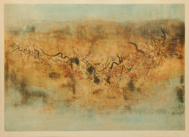 Zao Wou-Ki (Chinese/French, born 1921) Vent et poussière Etching with aquatint printed in colours, 1957, on Rives, signed, dated and numbered 9/60 in pencil, printed by R.Dutrout, Paris, published by La Hune, Paris 345 x 490mm (13 1/2 x 19 1/4in)(PL)