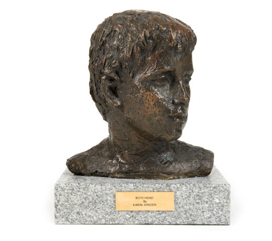 Karin Jonzen (British, 1914-1998) Boy's head 28cm (11in)(height, including base)