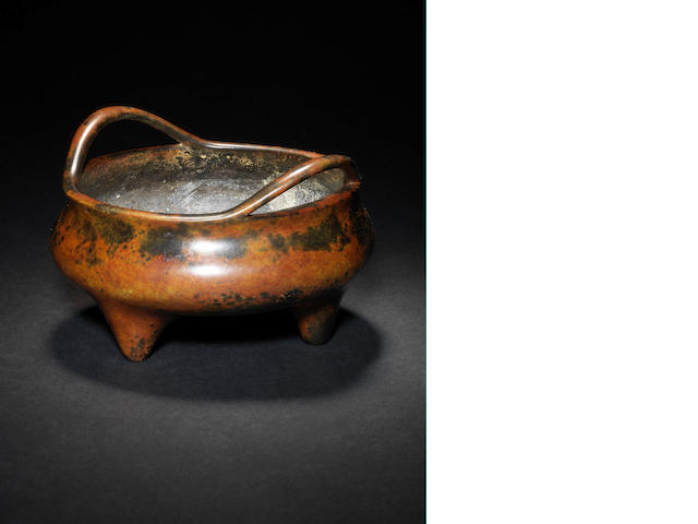 A bronze, tripod incense burner Xuande six-character mark
