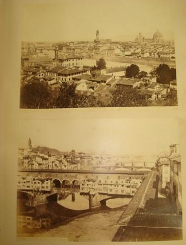 A 19th Century album of photographic prints, of European views including Florence, Venice, Milan, Bologna, Paris, Lyon and Lake Maggiore.