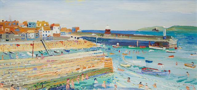 Fred Yates (British, 1922-2008) The Harbour in Summer, St Ives