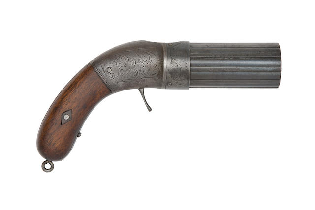 A Very Rare .28 Pecare & Smith's 1849 Patent Ten-Shot Percussion Pepperbox Revolver