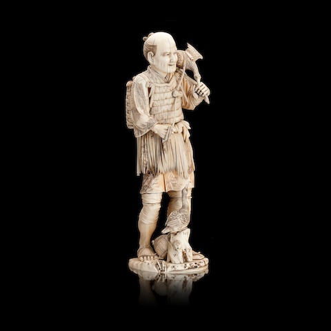 A large sectional ivory and marine ivory okimono of a cormorant fisherman Meiji, signed 'Tamano'