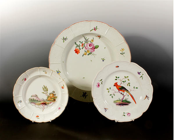 Two German plates and a platter, circa 1770