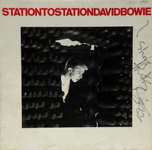 An autographed copy of the album 'Station To Station' by David Bowie,