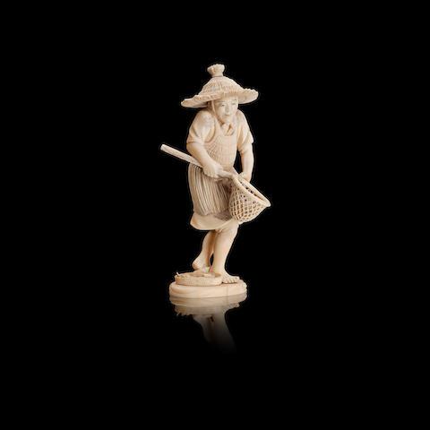 An ivory okimono of a fisherman Japanese, Meiji