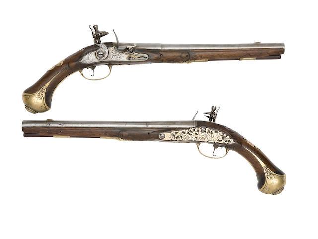 A Pair Of Continental 20-Bore Brass-Mounted Flintlock Holster Pistols