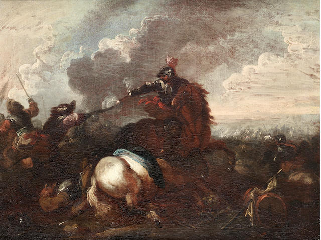 Circle of Jacques Courtois, called il Borgognone (Saint-Hyppolite 1621-1676 Rome) A cavalry skirmish