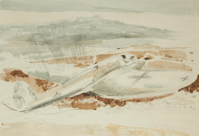 Paul Nash (British, 1889-1946) The Raider on the Moors Lithograph printed in colours, 1940, on wove, published by the National Gallery for the Ministry of Information, London, 385 x 565mm (15 1/8 x 22 1/4in)(I)