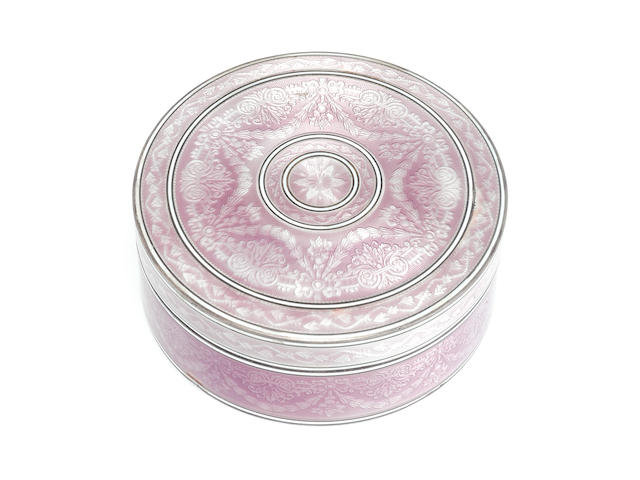 Round silver enamelled lidded box