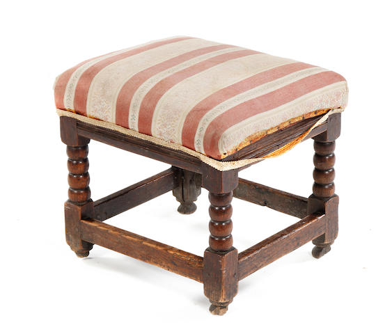 An oak low stool or child's stool In the Charles II manner