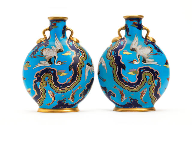 A pair of Minton pilgrim flasks, attributed to Christopher Dresser Circa 1870