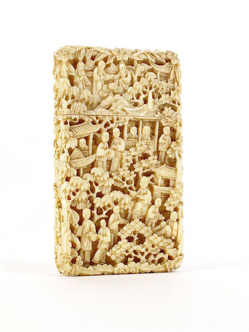 A Cantonese ivory card case, Qing dynasty