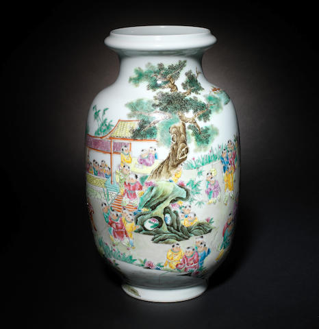 A famille rose, 'Hundred Boys' vase Qianlong four-character mark
