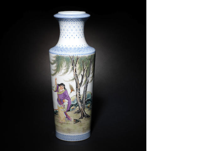 A rouleau vase with Liuhai and the Three-legged toad - CHECK INSCRIPTION AND ADVISE
