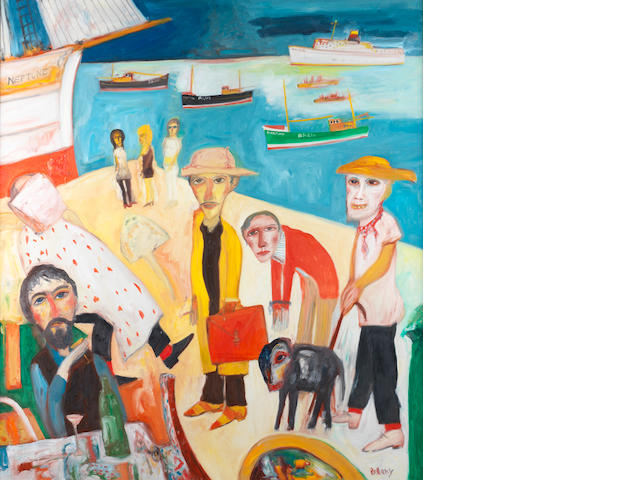 John Bellany, CBE RA HRSA LLD(Lon) (British, born 1942) Homage to John Banville 172.5 x 152.5 cm. (68 x 60 in.)