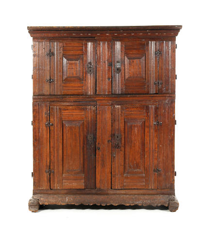 A 17th century oak cupboard North European