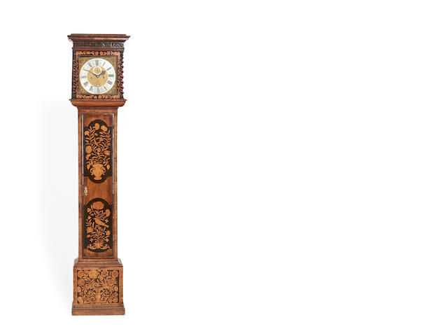 An interesting marquetry longcase clock of one month duration the dial and movement by Erasmus Mickelwright, London circa 1690, the associated case of the same date with possibly later inlay to the door