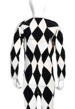 Freddie Mercury's black and white harlequin stage costume, 1970s,