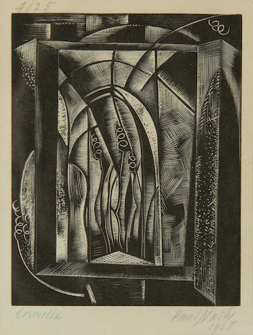 Paul Nash (British, 1889-1946) Coronilla (Postan W64) Woodcut, 1925, on white wove, signed, titled, dated and numbered 4/25 in pencil, with margins, 115 x 90mm (4 1/2 x 3 1/2in)(B)
