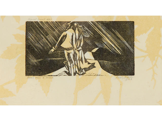 Paul Nash (British, 1889-1946) Road over a Moor (Postan W35) Woodcut, 1923, on patterned paper, signed, titled, dated and inscribed 'special print No.1' in pencil, presumably a proof aside from the first edition of 15, with wide margins, 55 x 115mm (2 1/4 x 4 5/8in)(B)