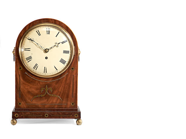 A Regency mahogany and brass inlaid bracket fusee timepiece