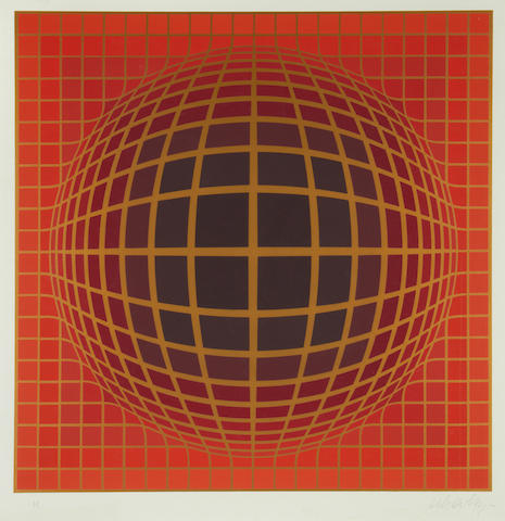 Victor Vasarely (Hungarian, 1906-1997) Untitled Screenprint in colours, on wove, signed and inscribed 'HC' in pencil, an hors commerce impression aside from the numbered edition, with margins, 580 x 580mm (22 3/4 x 22 3/4in)(I)