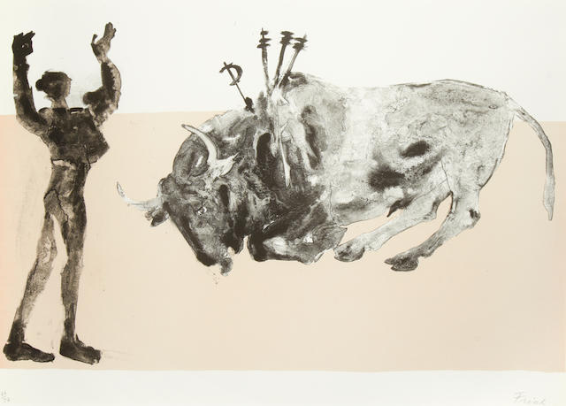 Dame Elisabeth Frink R.A. (British, 1930-1993) Corrida V Lithograph printed in colours, 1973, on T.H. Saunders, signed and numbered 66/72 in pencil, printed by Curwen Studios, London, published by Waddington Graphics, London, with margins, 565 x 760mm (22 1/4 x 30in)(I)
