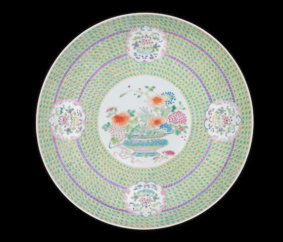 A famille rose saucer dish Yongzheng six-character mark