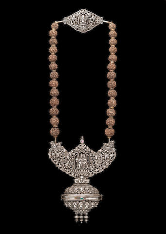 A large silver-mounted rudraksha bead Necklace (Gowrishankaram) Southern India, 18th Century